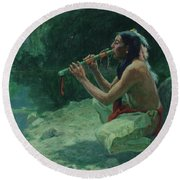 The Call Of The Flute Round Beach Towel