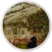 The Family Of Mr  Westfal In The Conservatory  Round Beach Towel