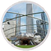 The Great Lawn, Trellis, Bandshell And Jay Pritzker Pavilion, Mi Round Beach Towel
