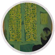 The Green Interior  Figure Seated By A Curtained Window   Round Beach Towel
