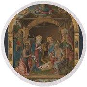 The Nativity With Saints Altarpiece  Round Beach Towel