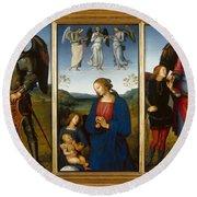 Three Panels From An Altarpiece  Certosa  Round Beach Towel