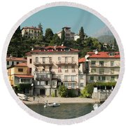 Town In The Shore Of Lake Como Round Beach Towel