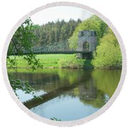 Union Bridge At Horncliffe On River Tweed Round Beach Towel