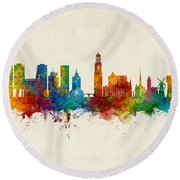 Utrecht The Netherlands Skyline Round Beach Towel