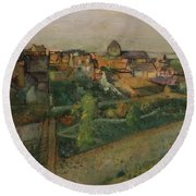 View Of Saint Valery Sur Somme  Round Beach Towel