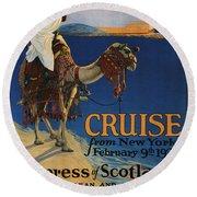 Vintage Poster -  Mediterranean Cruises Round Beach Towel