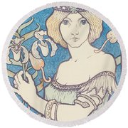 Vintage Poster - Woman With Flower Round Beach Towel
