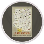 Vintage Travel Poster - Arizona Round Beach Towel