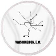Washington, D.c. White Subway Map Round Beach Towel