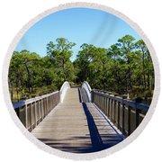 Western Lake Bridge Round Beach Towel