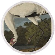 Whooping Crane  From The Birds Of America  Round Beach Towel