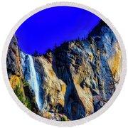Winter Bridalveil Falls Round Beach Towel