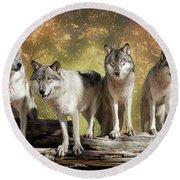 Wolf Pack Round Beach Towel