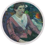 Woman In Front Of A Still Life By Cezanne Round Beach Towel