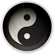Yin Yang Symbol Leather Texture Round Beach Towel by Brian Carson