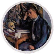 Young Man And Skull Round Beach Towel