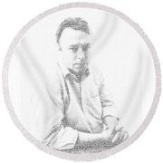 10 Commandments By Christopher Hitchens Round Beach Towel