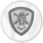 10th Marines Crest Round Beach Towel by Betsy Hackett