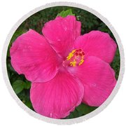 Bright Pink Hibiscus Round Beach Towel