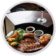Sunday Roast Beef Traditional British Meal Set On Table Round Beach Towel