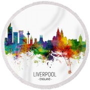 Liverpool England Skyline Round Beach Towel