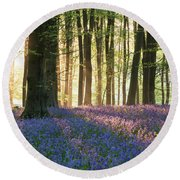 Stunning Bluebell Forest Landscape Image In Soft Sunlight In Spr Round Beach Towel