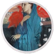Young Woman With Ibis  Round Beach Towel
