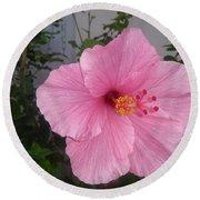 Pink Hibiscus Round Beach Towel
