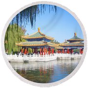 Beautiful Beihai Park, Beijing, China Photograph Round Beach Towel