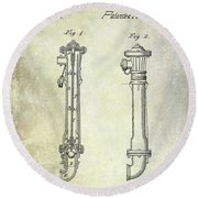 1859 Fire Hydrant Patent Round Beach Towel