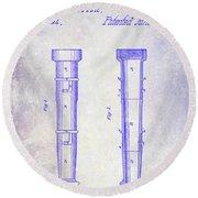 1860 Fire Hose Nozzle Patent Blueprint Round Beach Towel