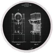 1876 Brewing Cooler - Black Blueprint Round Beach Towel