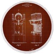 1876 Brewing Cooler - Dark Red Blueprint Round Beach Towel