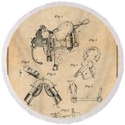 1880 Military Saddle Patent Print Antique Paper Round Beach Towel