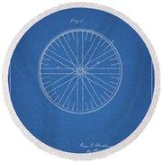 1885 Bicycle Wheel Patent Round Beach Towel