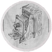 1887 Blair Photographic Camera Gray Patent Print Round Beach Towel