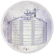 1888 Whiskey Or Beer Barral Patent Blueprint Round Beach Towel