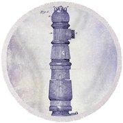 1889 Fire Hydrant Patent Blueprint Round Beach Towel