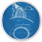 1889 Hopkins Fireman's Hat Blueprint Patent Print Round Beach Towel