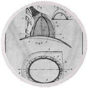 1889 Hopkins Fireman's Hat Gray Patent Print Round Beach Towel