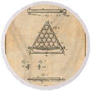 1891 Billiard Ball Rack Patent Print Antique Paper Round Beach Towel