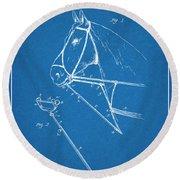 1891 Horse Harness Attachment Patent Print Blueprint Round Beach Towel