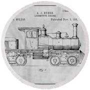 1891 Huber Locomotive Engine Gray Patent Print Round Beach Towel