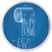 1891 Toilet Paper Roll Blueprint Patent Print Round Beach Towel