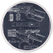 1894 Winchester Lever Action Rifle Blackboard Patent Print Round Beach Towel