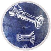1896 Fire Hose Spray Nozzle Patent Blue Round Beach Towel