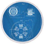 1896 Tesla Alternating Motor Blueprint Patent Print Round Beach Towel