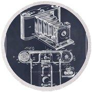 1899 Photographic Camera Patent Print Blackboard Round Beach Towel