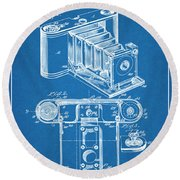 1899 Photographic Camera Patent Print Blueprint Round Beach Towel